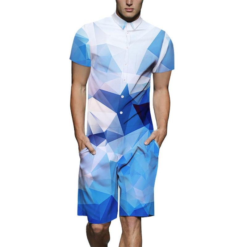 [해외]Short Sleeve Men`s Rompers Male Romper 2019 Men Summer Shorts Romper Jumpsuit One Piece Overalls 3XL Outfits/Short Sleeve Men`s Rompers Male Rompe