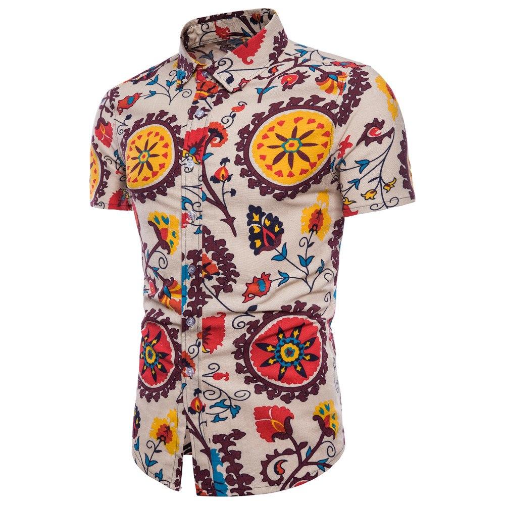 [해외]KLV Men Summer Bohe Floral Short Sleeve Hawaii Basic Shirt Top Plus Size Cotton Short Sleeve Top Casual Mens Blouse Top 20190301/KLV Men Summer Bo