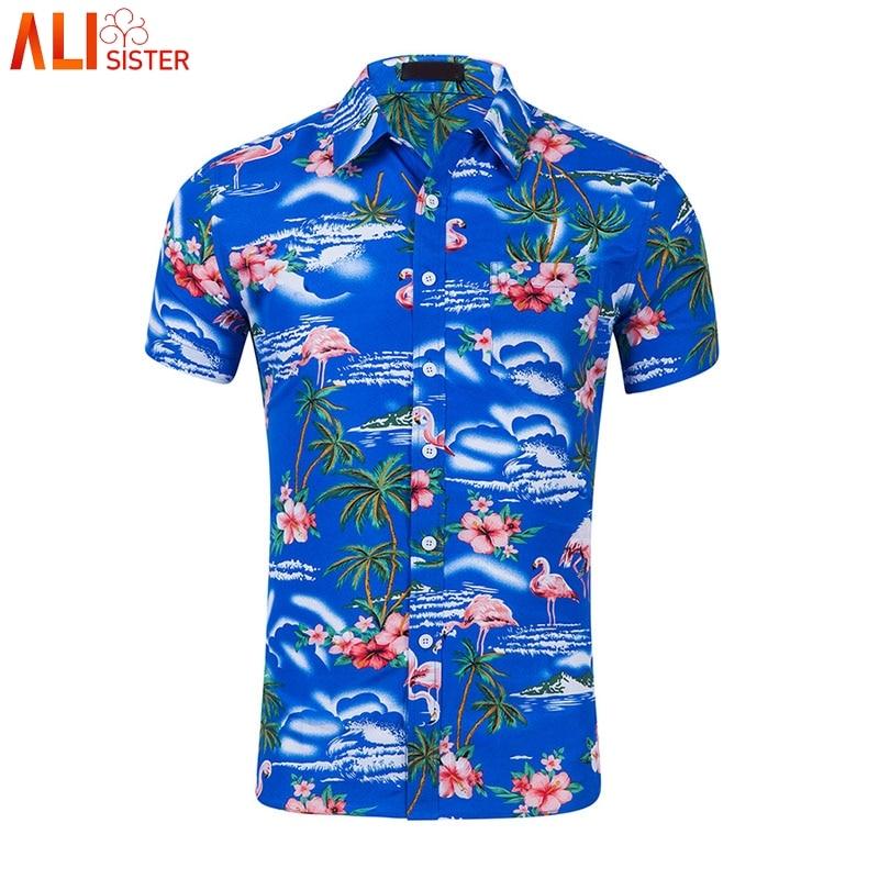 [해외]Flamingo Print Hawaiian Shirt Men Summer Brand Short Sleeve Mens Beach Aloha Shirts Chemise Homme Casual Slim Mens Dress Shirt/Flamingo Print Hawa