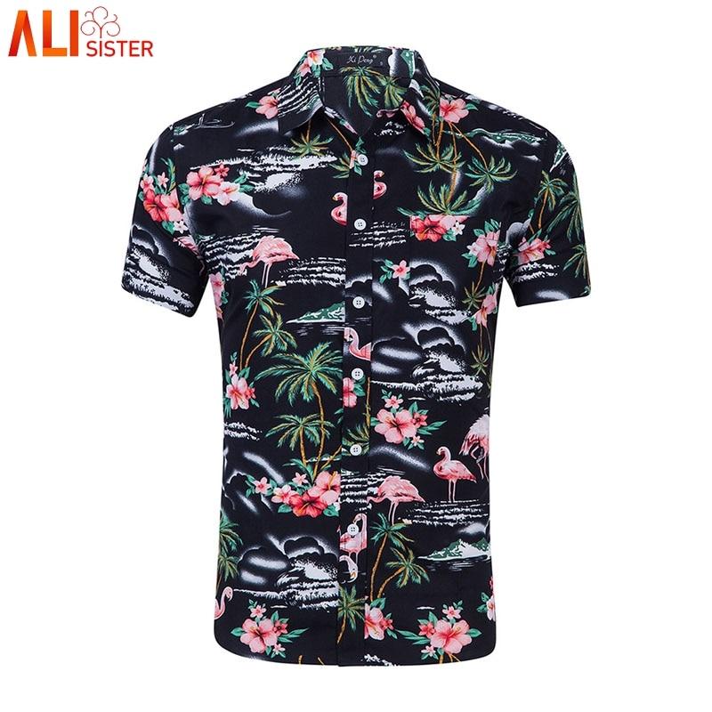 [해외]Mens Casual Flower Flamingos Print Shirt Button Down Slim Short Sleeve Hawaiian Aloha Shirts Summer Beach Men Clothes 2019/Mens Casual Flower Flam