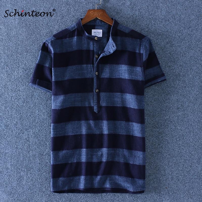 [해외]Schinteon 2019 New Linen Cotton Striped Summer Casual Shirt Men Breathable Stand Collar Short Sleeves Brand Shirts Pullover/Schinteon 2019 New Lin