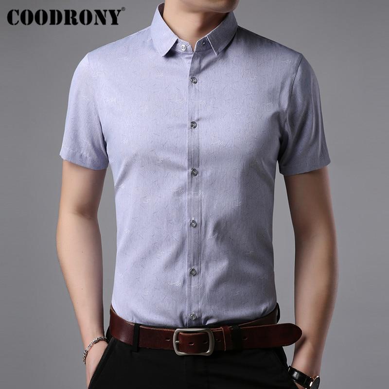 [해외]COODRONY Cotton Short Sleeve Shirt Men Brand Clothes 2019 Summer New Business Casual Shirts Social Dress Camisa Masculina S96043/COODRONY Cotton S