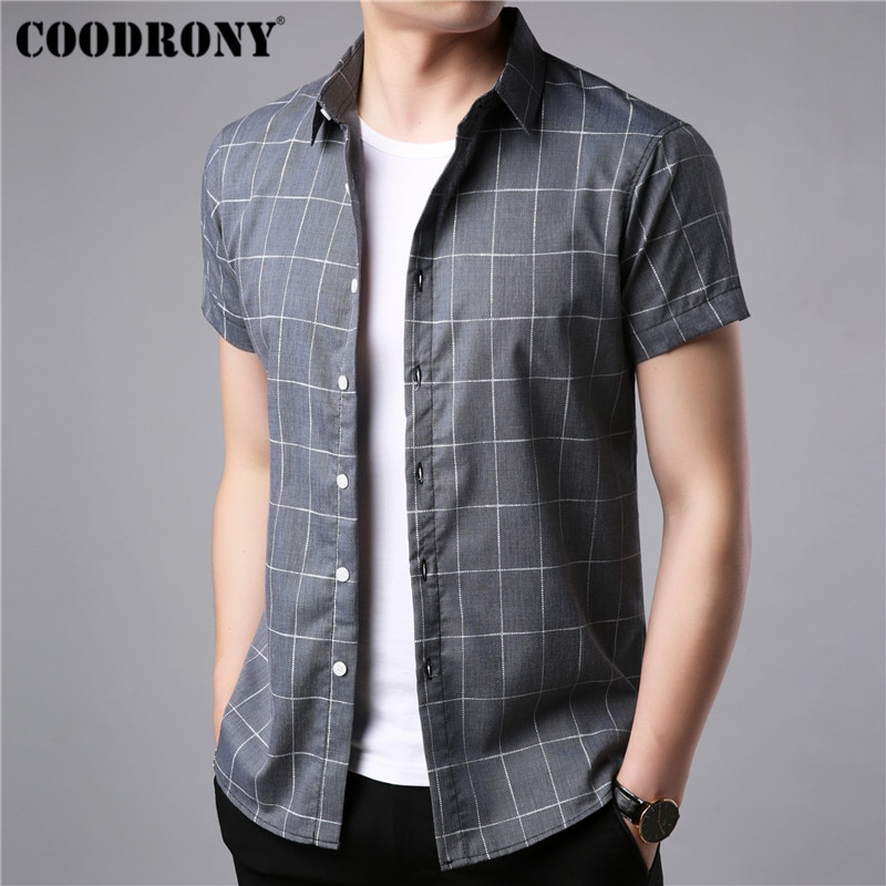 [해외]COODRONY Brand Short Sleeve Shirt Men 2019 Spring Summer Business Casual Shirts Streetwear Fashion Plaid Camisa Masculina S96038/COODRONY Brand Sh