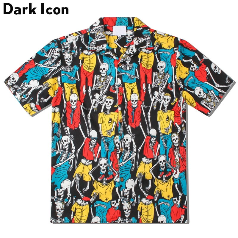 [해외]Dark Icon Skulls Full Printed Street Shirts Men Summer Short Sleeved Shirts for Men Hawaii Shirts Man Top/Dark Icon Skulls Full Printed Street Shi