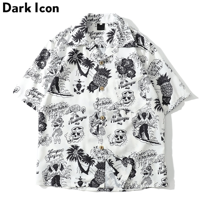 [해외]Dark Icon Skeleton Full Printed Retro Shirt Men 2019 Summer Street Men`s Shirts Short Sleeved Shirts for Men Green White/Dark Icon Skeleton Full P