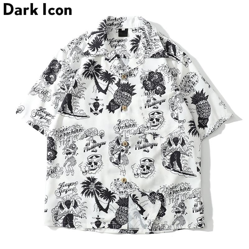 [해외]Dark Icon Skeleton Full Printed Retro Shirt Men 2019 Summer Street Men`s Shirts Short Sleeved Shirts for Men Green White/Dark Icon Skeleton Full P