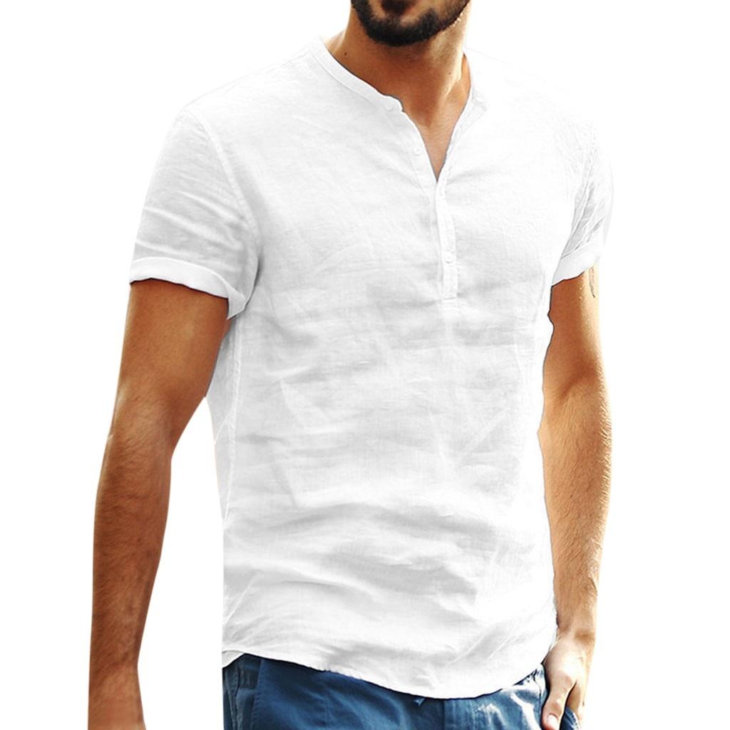 [해외]유리한 남성 캐주얼 반소매 코튼 린넨 화이트 셔츠 패션 남성 느슨한 버튼 업 v 넥 셔츠 camisa social masculina 2 /유리한 남성 캐주얼 반소매 코튼 린넨 화이트 셔츠 패션 남성 느슨한 버튼 업 v 넥 셔츠 camisa so
