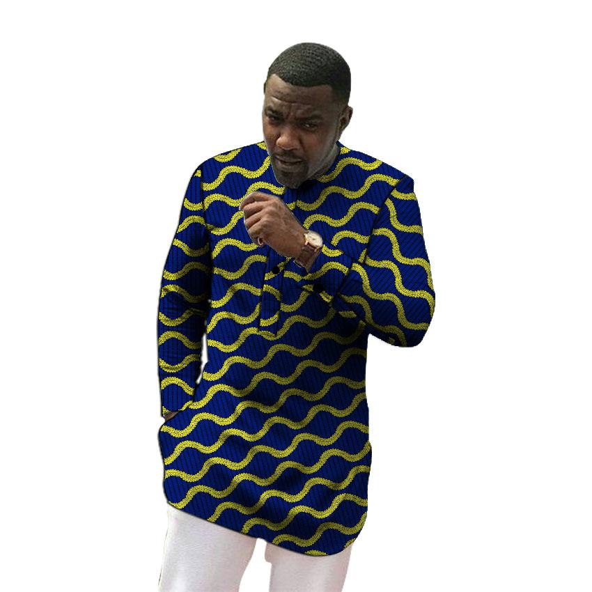 [해외]/African clothing men`s shirt slim fit ankara o-neck print tops customize for wedding wear male formal tops