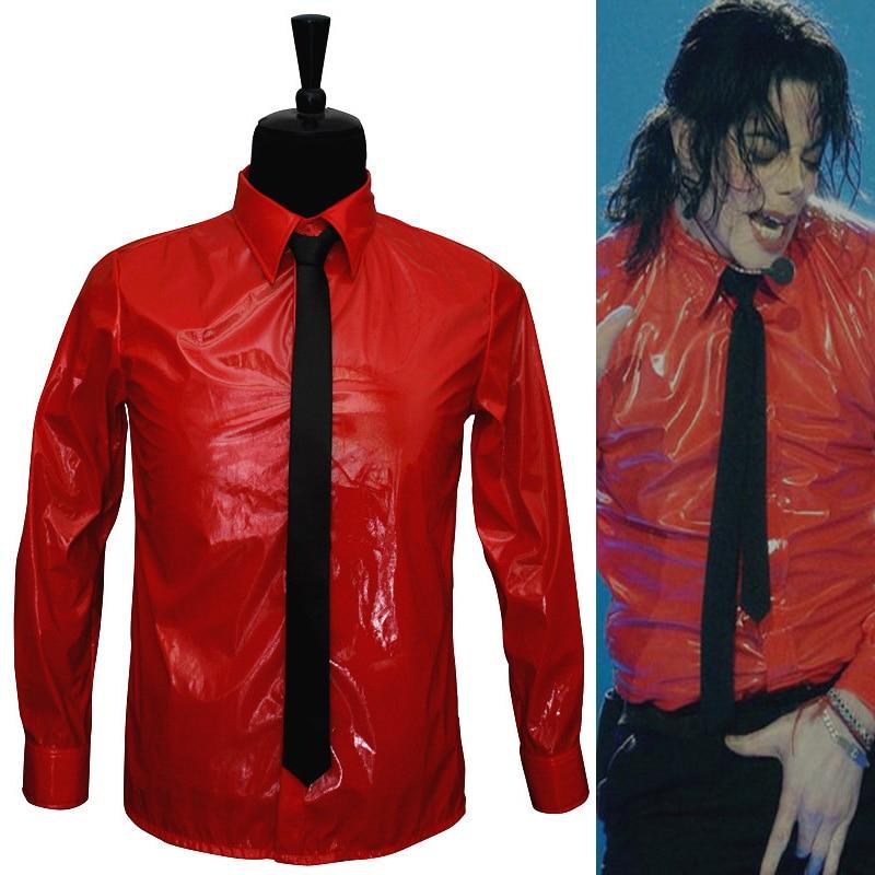 [해외]뜨거운 빨간 특허 가죽 펑크 성능 셔츠 팬들을위한 브랜드 의류 mj 위험한 세트 컬렉션, michaeljackson 의상/뜨거운 빨간 특허 가죽 펑크 성능 셔츠 팬들을위한 브랜드 의류 mj 위험한 세트 컬렉션, michaeljackson 의상