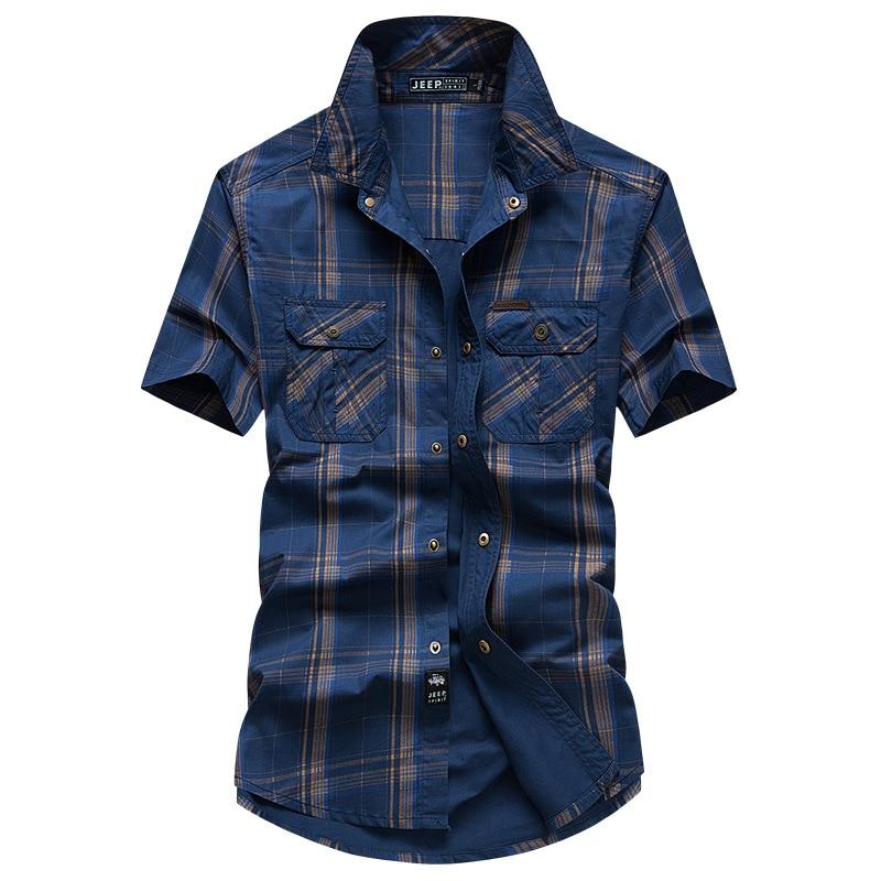 [해외]JEEP SPIRIT Summer Plaid Shirt Men Casual Cotton Breathable Men Shirt camisa masculina Plus Size M-5XL Short Sleeve Soft Shirts/JEEP SPI