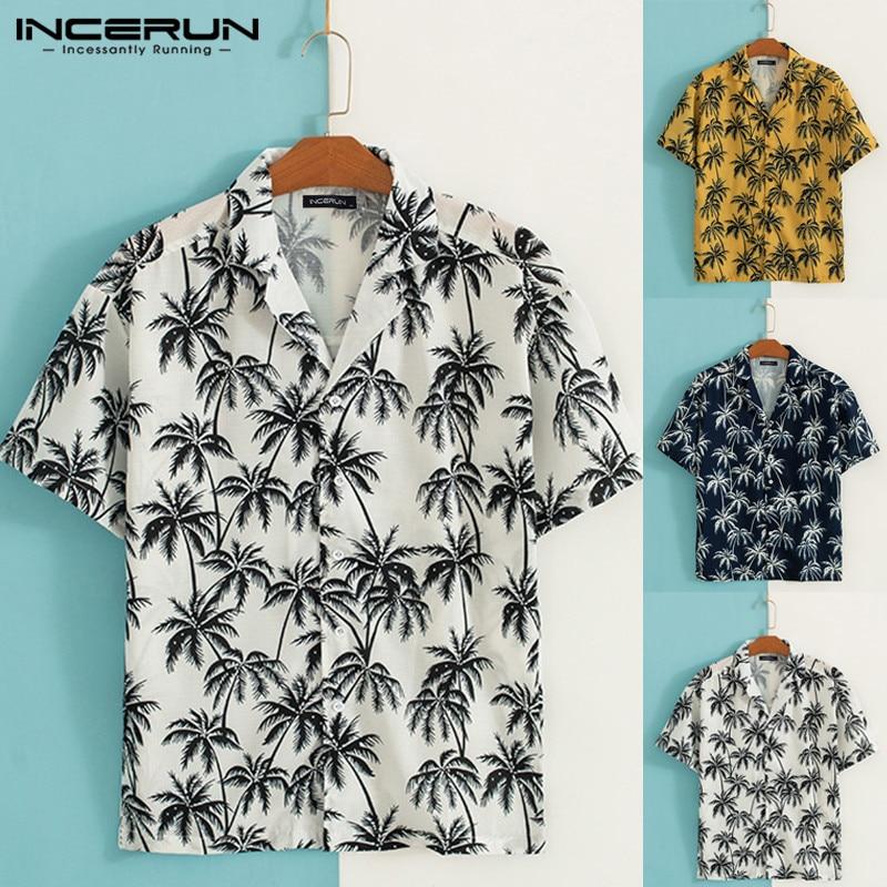 [해외]INCERUN 2019 Stylish Print Men Beach Hawaiian Shirt Lapel Neck Short Sleeve Streetwear Tops Summer Men Casual Shirt Camisa S-5XL/INCERUN