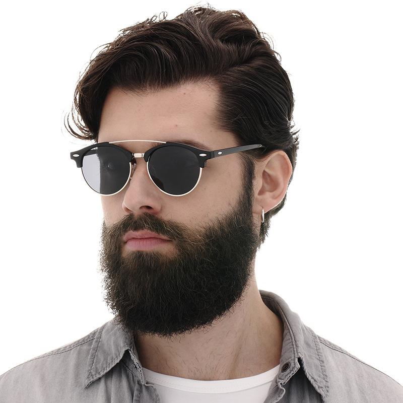 [해외]HDSUNFLY Men Polarized Sunglasses UV400 Women Brand Design Club Round Sun glasses  Double Bridge Eyewear for male female/HDSUNFLY Men Polarized Su