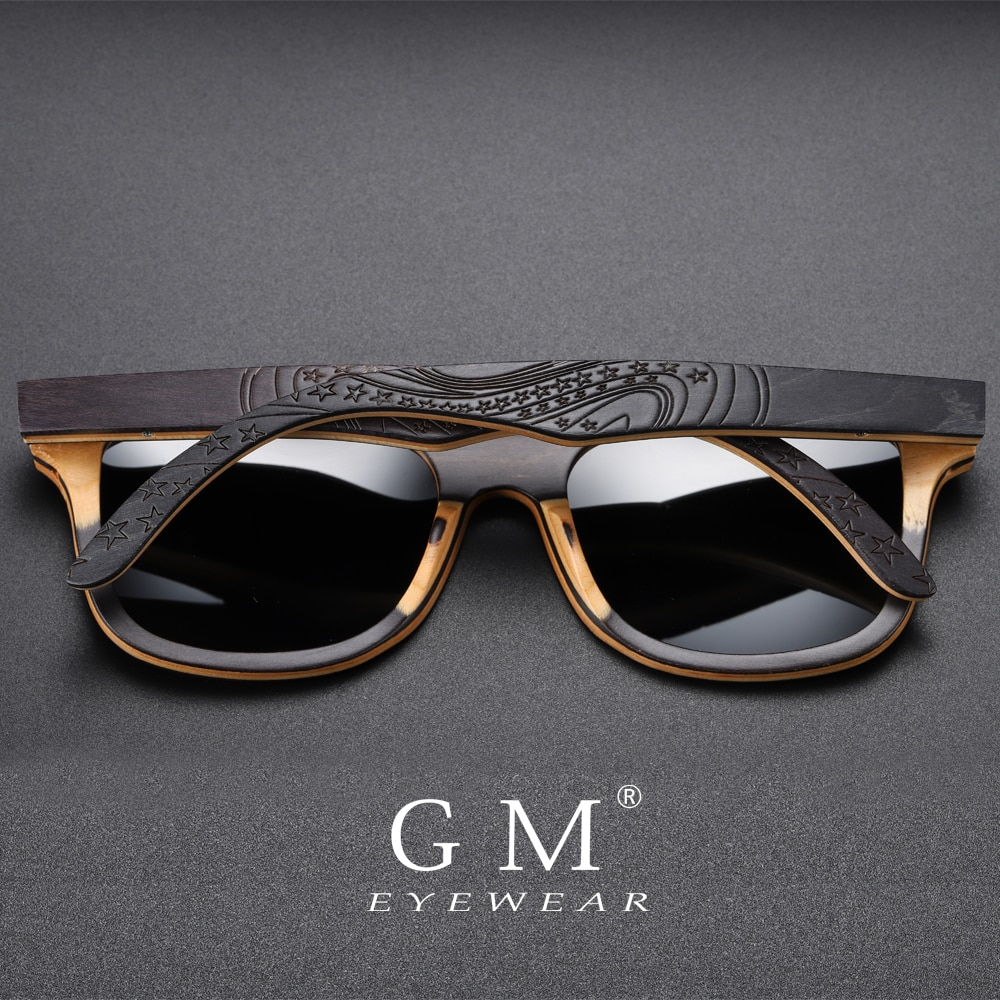 [해외]GM Brand Designer wood Sunglasses New Men Polarized Black Skateboard Wood Sunglasses Retro Vintage Eyewear  S5832/GM Brand Designer wood