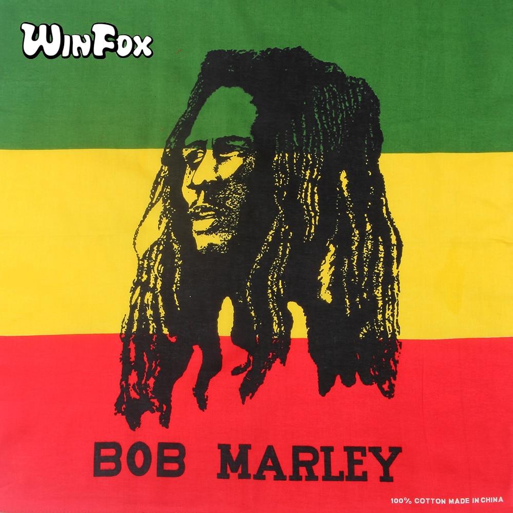 [해외]Winfox 55 * 55cm 코튼 힙합 ??레게 스타일 Bob Marley 남성용 여성용 멀티 컬러 스퀘어 Bandana 헤드 랩 넥 스카프/Winfox 55*55cm Cotton Hip Hop Reggae Style Bob Marley Multicolor S