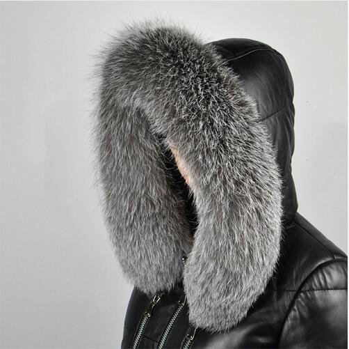 [해외]silver fox Winter Women`s Real Fox Fur Collar  Fox Fur Cap Fur Collar 70/80cm Straight Collar Soft Fur Scarf Neck Warmer/silver fox Winter Women`s