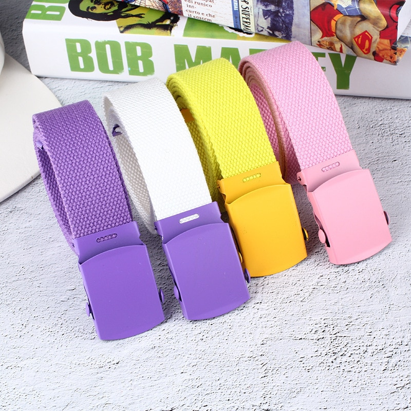 [해외]UniMen Woman Casual Solid Color Webbing Canvas Waist Belt Automatic Buckle Waistband Military Equipment Army Belt Practical/UniMen Woman Casual So