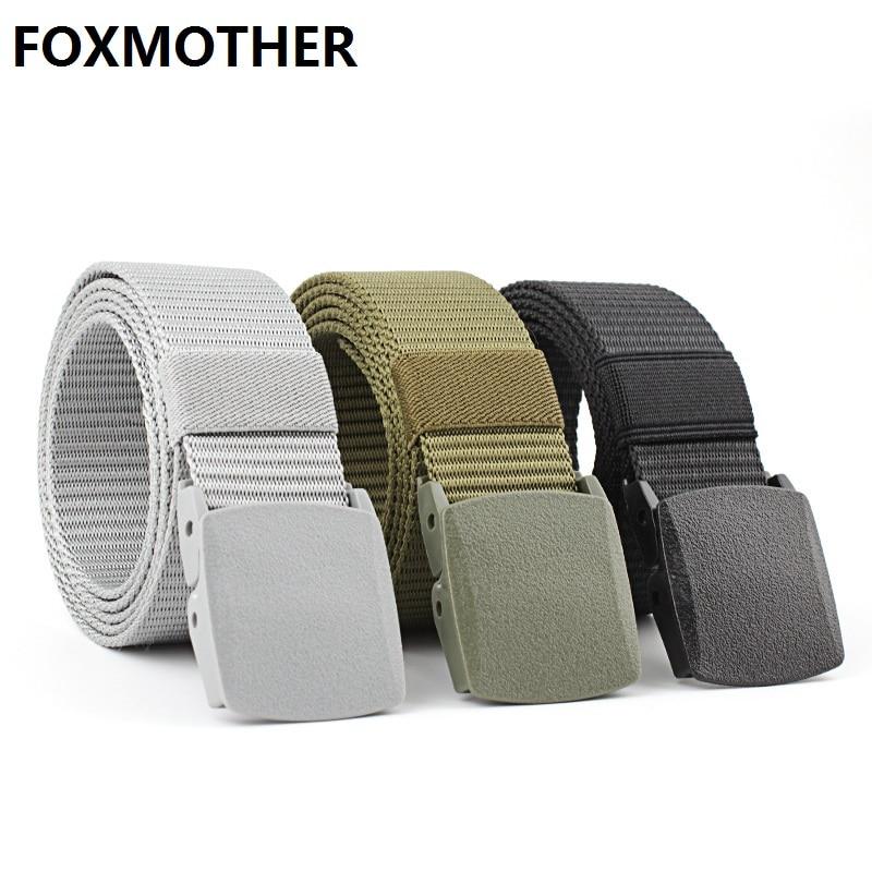 [해외]FOXMOTHER Black Grey Navy Canvas Belt Plastic Men Male Army Military Tactical Nylon Belts/FOXMOTHER Black Grey Navy Canvas Belt Plastic