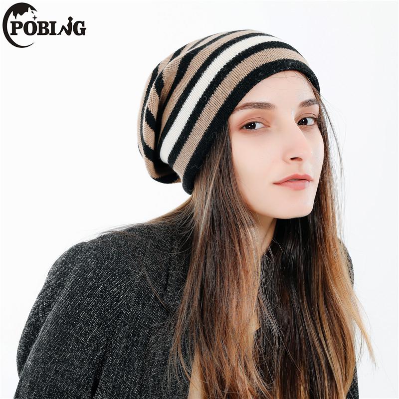 [해외]POBING 브랜드 캐시미어 여성 새 겨울 모자 스트라이프 인쇄 니트 모자 여성 캐주얼 웜 양털 Skiesies Beanies/POBING Brand  Cashmere Women New Winter Hats Striped Print Knitted Caps Fem