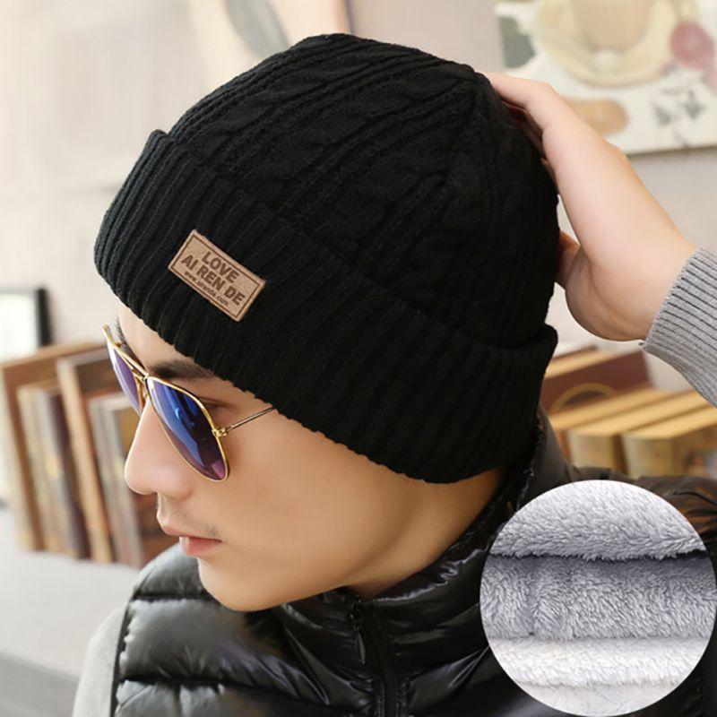 [해외]/New Wool Fleece Inside Winter Hats for Men Super Warm Double Layer Thicken Soft Knitted Beanies Cap Men Bonnet Hat