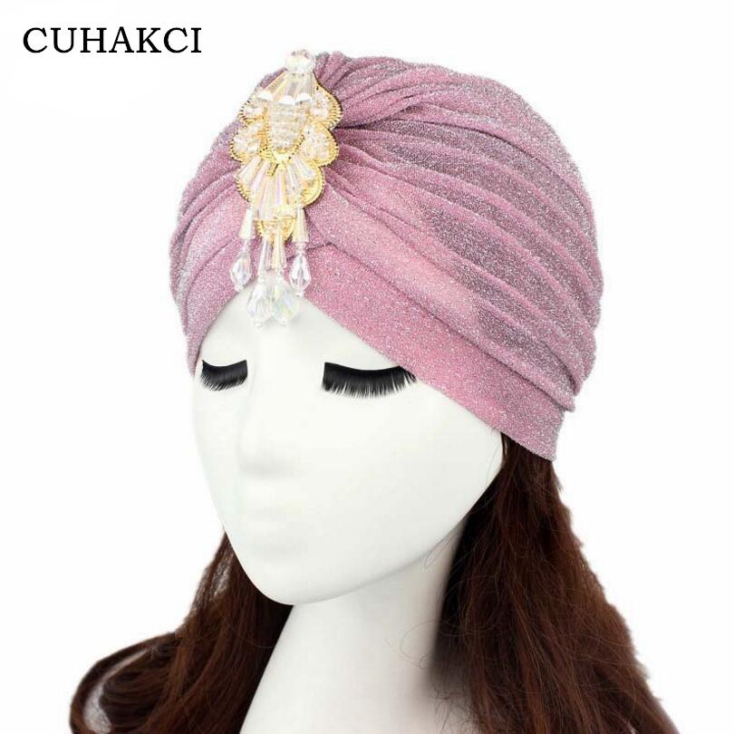 [해외]/CUHAKCI Women Mesh Skullies Shiny New Fashion Turban Beanies Soft Breathable Shimmer Glitter Sparkly Indian UniMuslim Hats