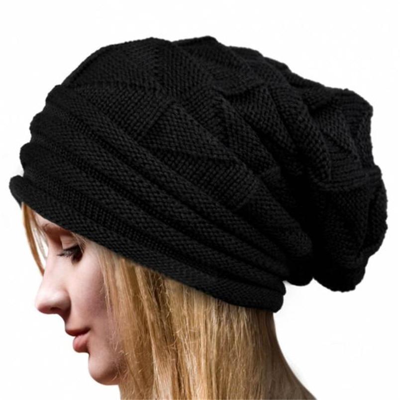 [해외]/2018 Women`s Hat Knit Hat Baggy Slouchy Beanie Warm Winter Hat Ski Cap Skull Fresh Fashion Autumn Girl Men Hat czapka zimowa