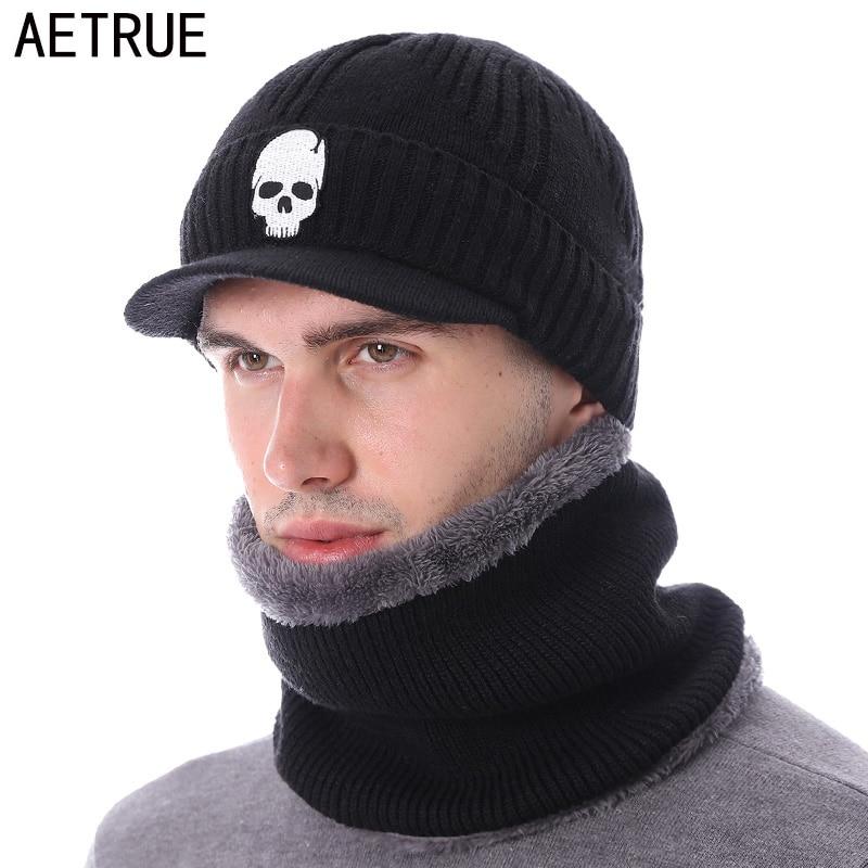 [해외]AETRUE Skullies Beanies Hat Men Winter Hat Beanies For Men Women Wool Fur Scarf Balaclava Mask Gorras Bonnet Knitted Hat Caps/AETRUE Skullies Bean
