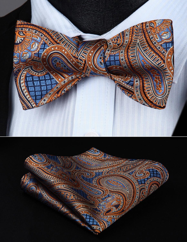 [해외]BP826NS Orange Blue Paisley Bowtie Men Silk  Self  Bow Tie handkerchief set/BP826NS Orange Blue Paisley Bowtie Men Silk  Self  Bow Tie handkerchie