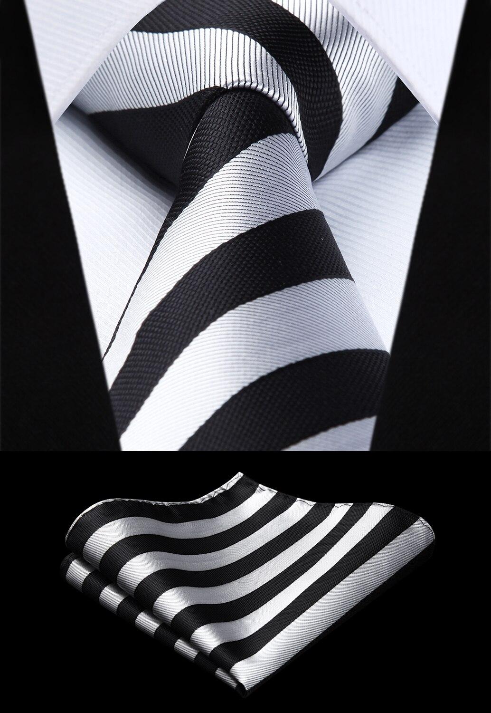[해외]Party Wedding Classic Pocket Square Tie Woven Men Tie Gray Black Striped Necktie Handkerchief Set TS724L8S/Party Wedding Classic Pocket Square Tie