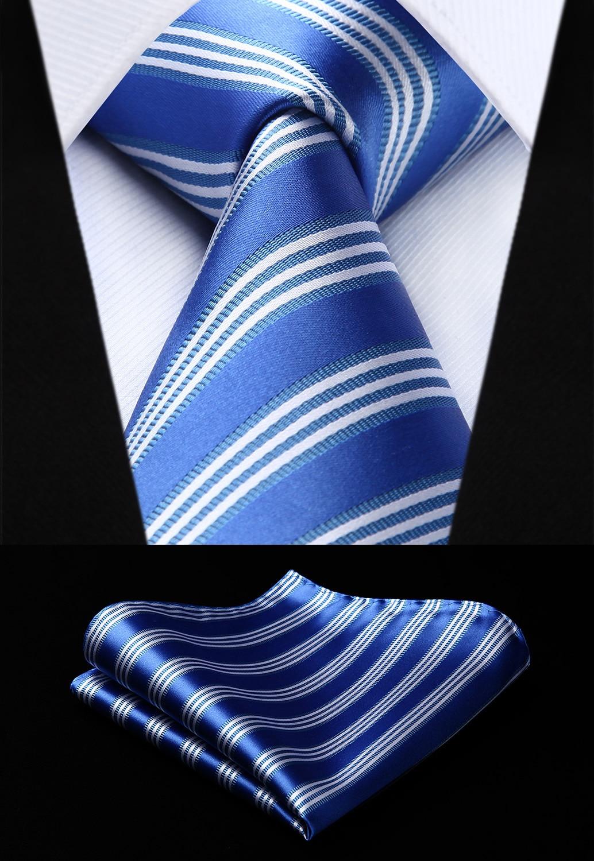 [해외]Woven Men Blue White Tie Striped Necktie Handkerchief SetTS726B8S Party Wedding Classic Fashion Pocket Square Tie/Woven Men Blue White Tie Striped