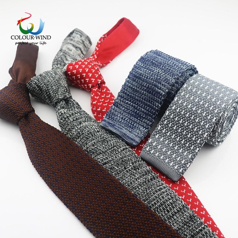[해외]2018 Genuine Brand Slim 6cm Men`s Solid Tie Narrow Knitted Neck Tie Business Woven Knit Colourful Tie Plain Cravate Party Gift/2018 Genuine Brand