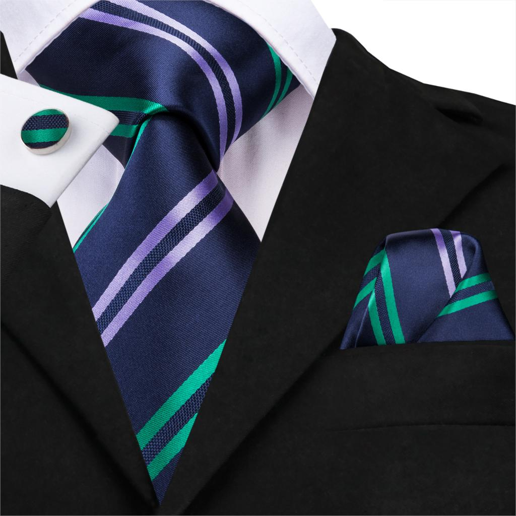 [해외]하이-넥타이 클래식 블루 넥타이 남자 100% 실크 넥타이 럭셔리 스트라이프 비즈니스 넥타이 남자 정장 넥타이 웨딩 파티 넥타이 SN-3208/하이-넥타이 클래식 블루 넥타이 남자 100% 실크 넥타이 럭셔리 스트라이프 비즈니스 넥타이 남자 정