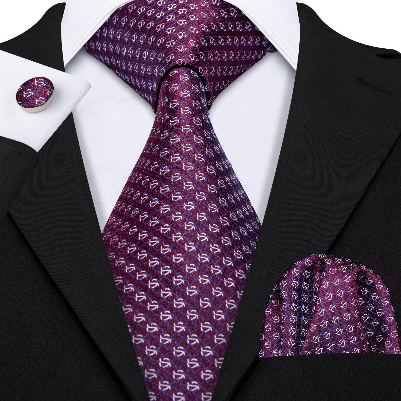 [해외]격자 무늬 포도 보라색 실크 넥타이 남자 100% 실크 넥타이 디자이너 선물 상자 세트 바이올렛 자카드 비즈니스 남자 넥타이 barry. wang LS-5181/격자 무늬 포도 보라색 실크 넥타이 남자 100% 실크 넥타이 디자이너 선물 상자