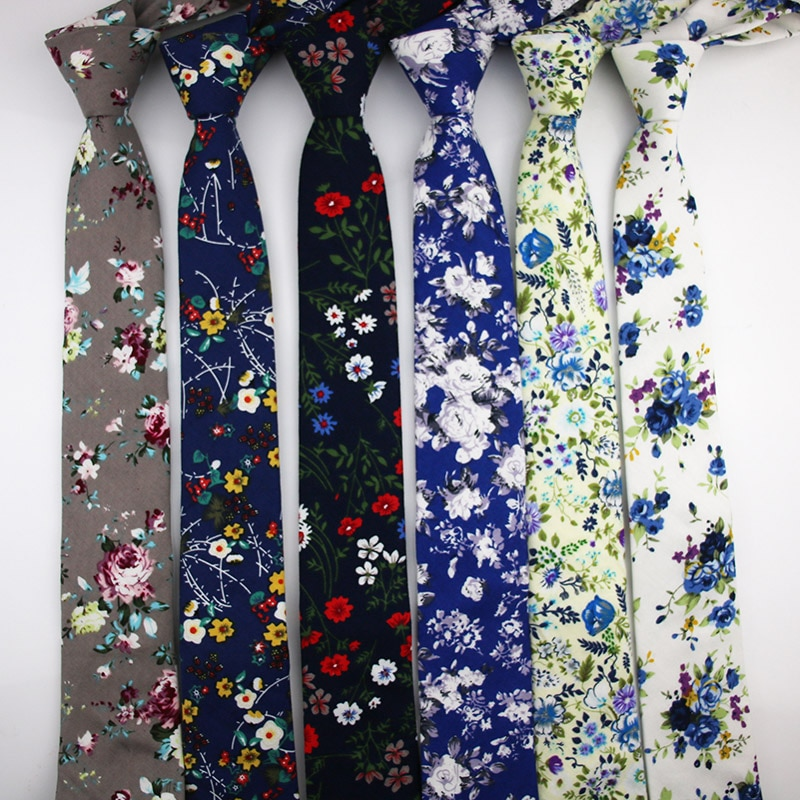 [해외]2018 New Design Fashion 100% Top Cotton Neck Tie For Men Casual Floral Ties 6CM Roes Party Skinny Women Corbatas Hombre Cravat/2018 New