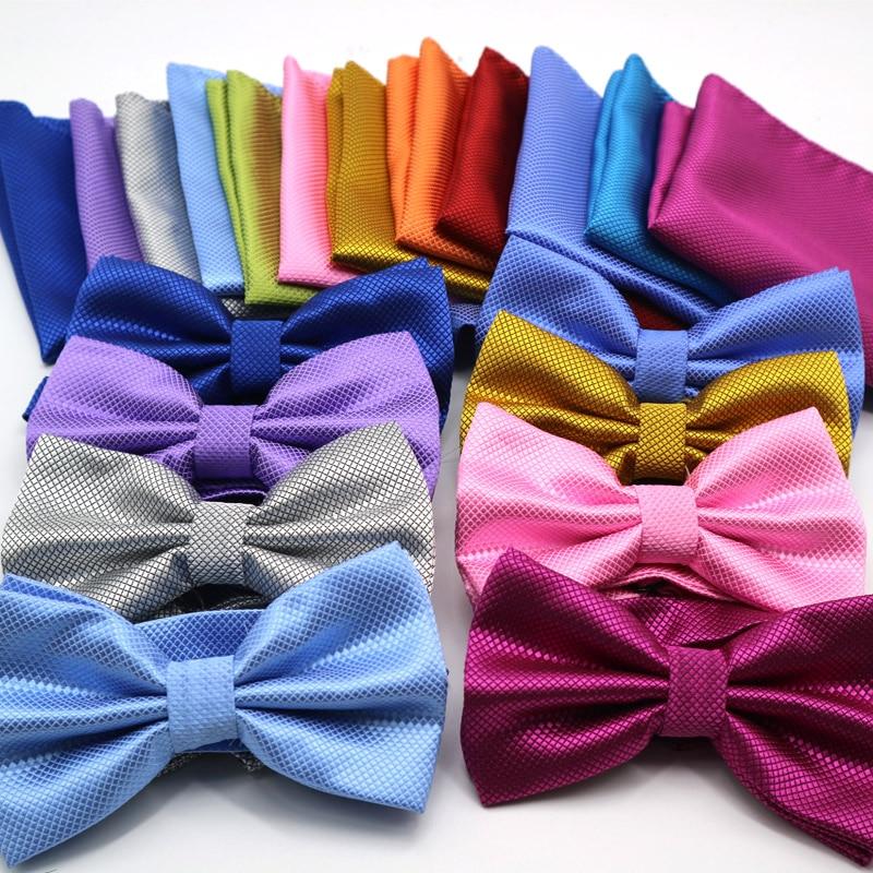 [해외]35 Color Hot Mens Bowtie Handkerchief Set Adjustable Man Solid White Black Bows Tie butterflies Squares For Wedding Party Tuxedo/35 Colo