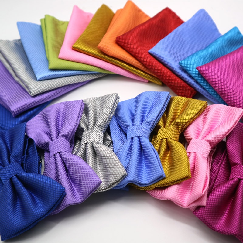[해외]Luxury 2 PCS Mens Solid Color Pocket Square Bows Tie Set Adjustable Handkerchief Bowtie Sets Wedding Party Plaid Check Hanky Lot/Luxury