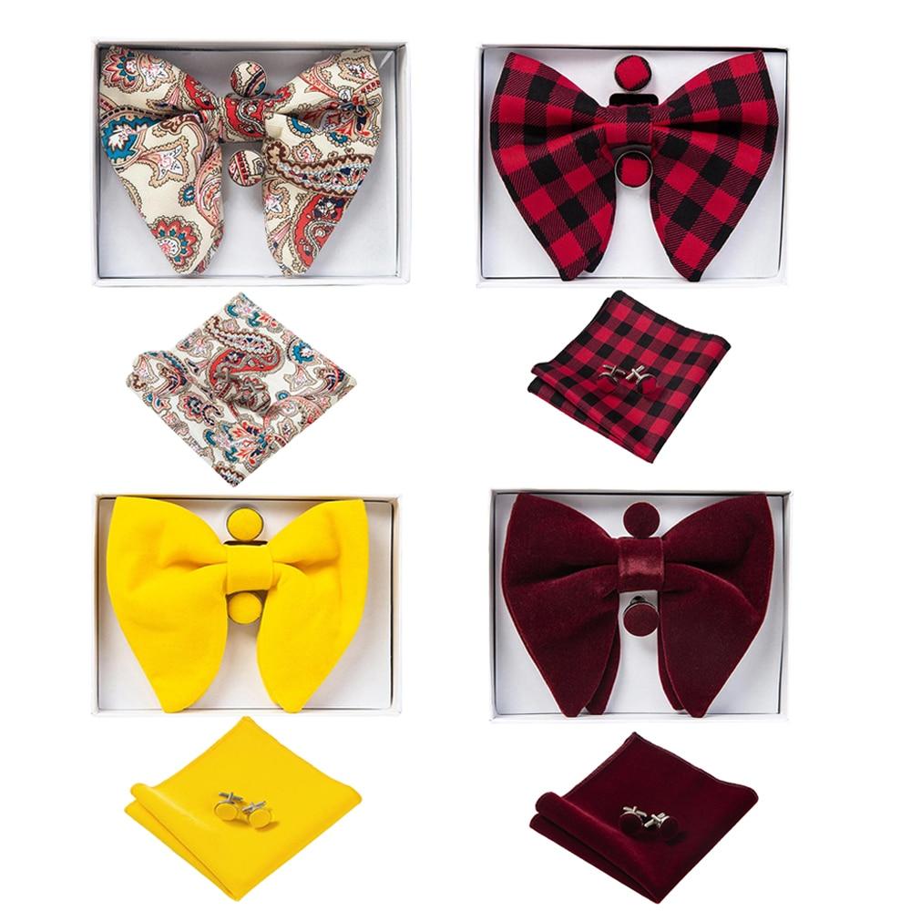 [해외]Ricnais Velvet Big Bow Tie Mens Bowties Pocket Square Cufflinks Set Solid Red Blue Handkerchief Necktie For Man Wedding Gift/Ricnais Vel