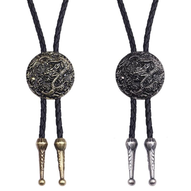 [해외]BOLO TIE Necklace Ethnic Style Men Women Bolo Tie Silver Chinese Dragon Necklace Leather Long Necklace Sweater Chain Pendant/BOLO TIE Ne