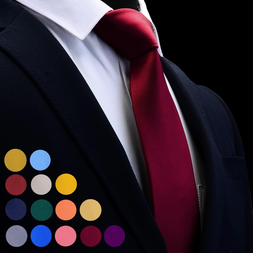 [해외]GUSLESON Quality Jacquard Woven Silk Solid Tie for Men 8cm Classic Plain Necktie Red Navy Gold Yellow Ties for Wedding Business/GUSLESON