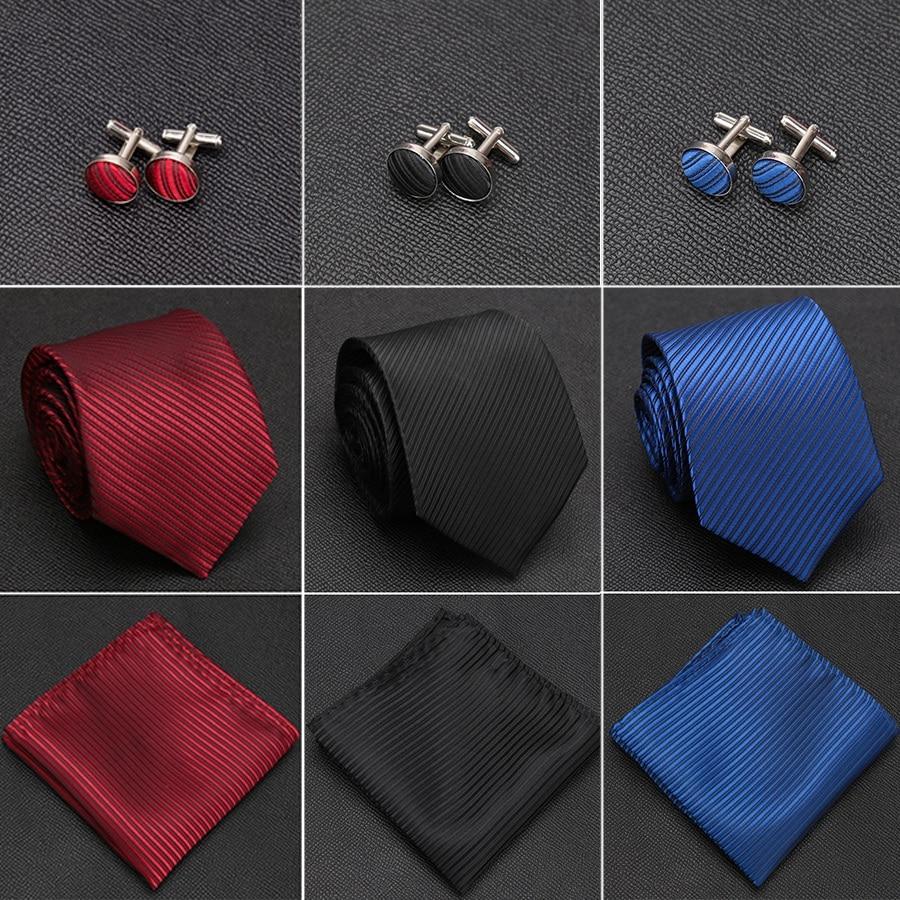 [해외]Mens Tie Solid Handkerchief Necktie Cufflinks Set Fashion Stripe Ties for Men Cravat Party Man Gift Wedding Dress Accessories/Mens Tie S