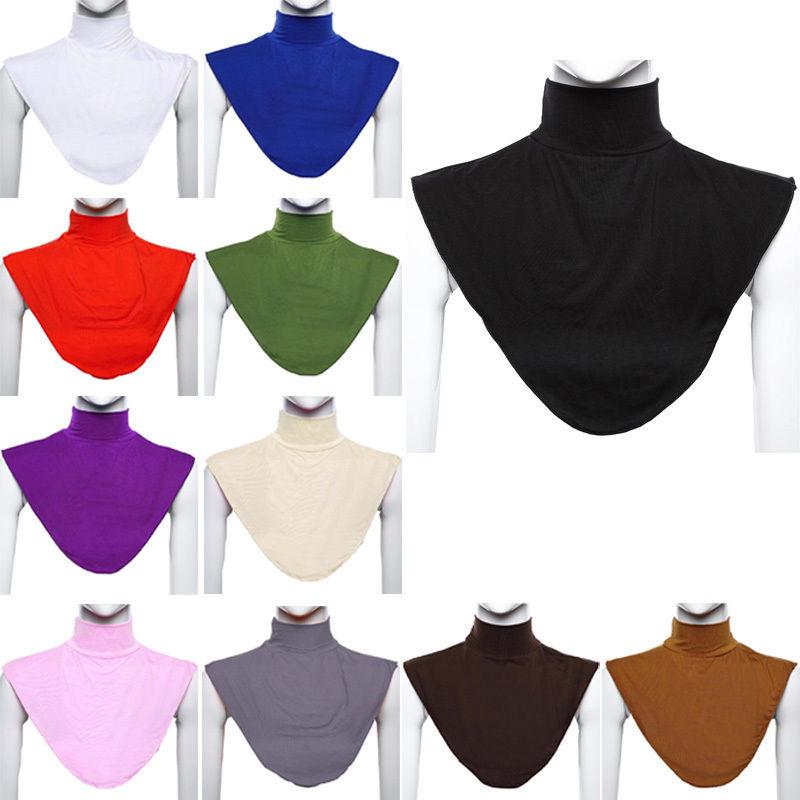 [해외]Dromiya Solid Men And Women Knitting Fake Collar Islamic Hijab Extensions Neck Chest Back Cover Modal Scarf Half Muslim Collar/Dromiya S