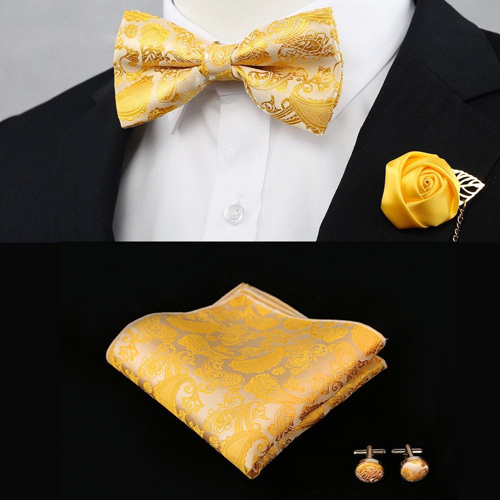 [해외]New Silk Flower Business Bowtie Men Vintage Purple Red Black Gold Royal Blue Wedding Bow Ties Pocket Square Handkerchief Set/New Silk Fl
