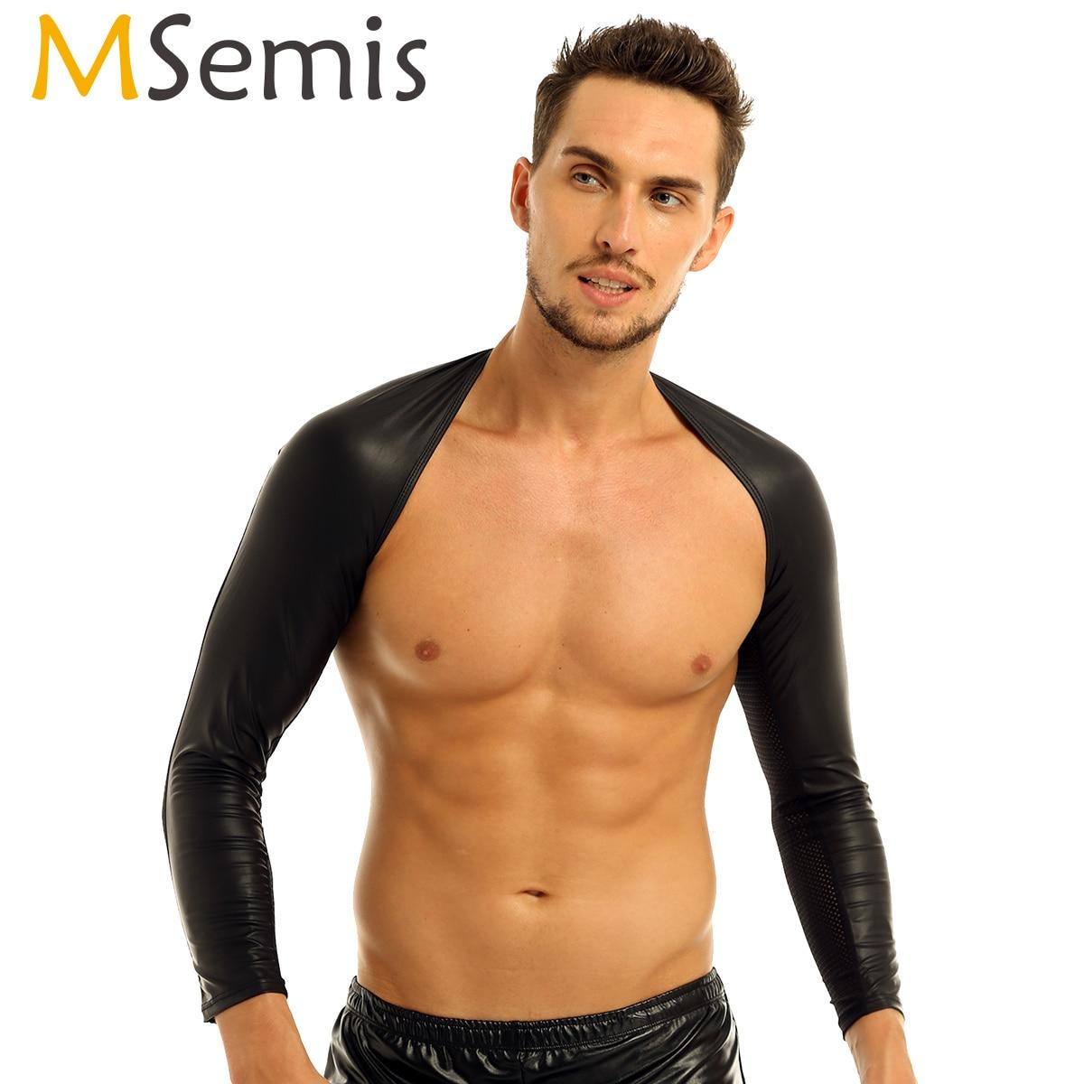 [해외]MSemis 섹시 란제리 Clubwear 남자 가짜 가죽 탑 핫 본디지 티셔츠 게이 가죽 하네스 암 워머 Mens 의상