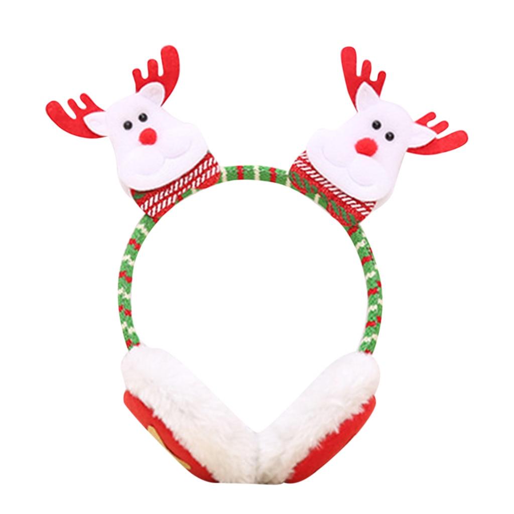 겨울 귀 따뜻하게 솜털 모피 헤드폰 크리스마스 어린이 겨울 따뜻한 봉 제 귀 머 거리 귀여운 귀 산타 클로스 머리 띠 귀 머 거리
