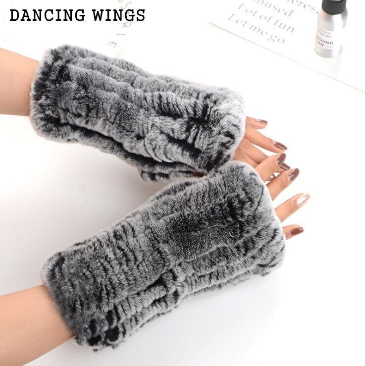[해외]New Winter Women`s Fur Gloves Real Genuine Knitted Rex Rabbit Fur Fingerless Gloves Mittens Arm Sleeve/New Winter Women`s Fur Gloves Real Genuine