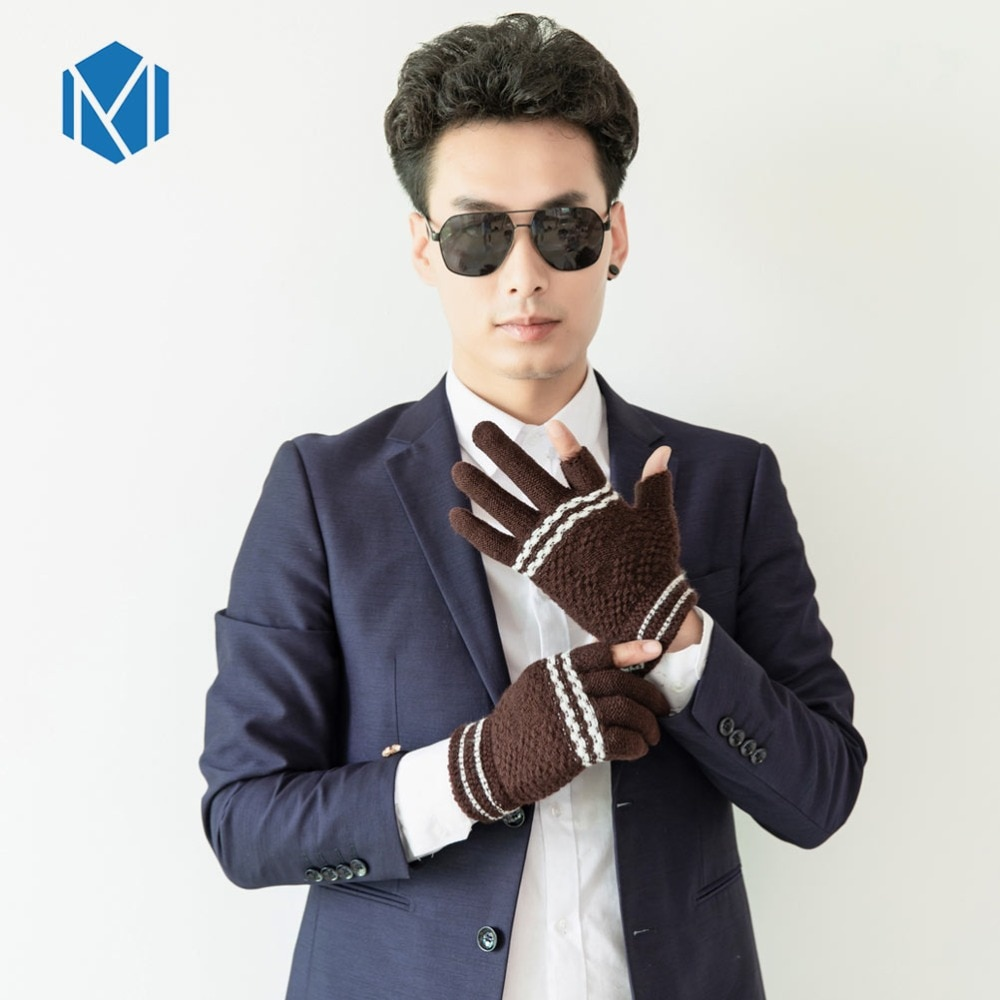 [해외]Miya Mona Hot Selling Men`s Winter Gloves Warm Winter Knitted Gloves Mittens Two Finger Free Solid Woolen Gloves Male eldiven/Miya Mona Hot Sellin