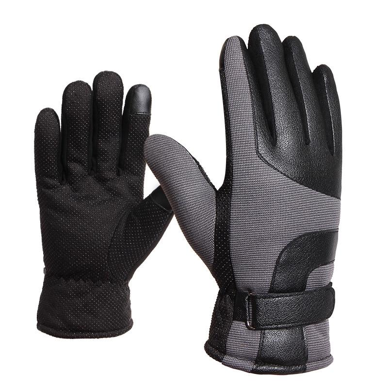 [해외]Motorcycle Gloves Men`s Winter Keep Warm Touch Screen Anti-Skid Riding Leather Gloves Thicker Warm Men Thicken Windproof Gloves/Motorcycle Gloves