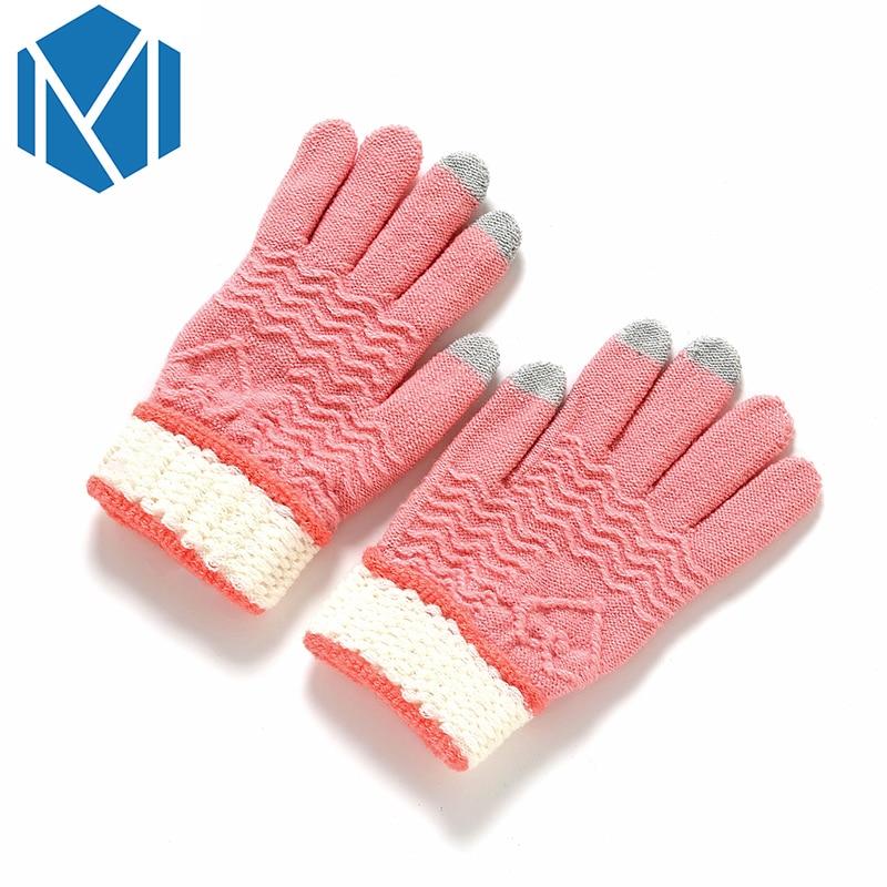 [해외]Soft Warm Stretchy Knitted Screen Gloves Women/Men Mittens Crochet Full Finger Glove Winter Female Knitting Driving Hand Luvas/Soft Warm Stretchy
