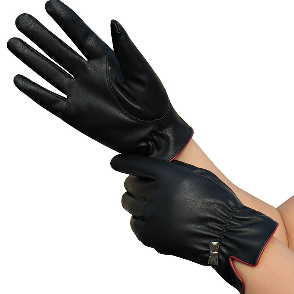 [해외]New 1 Pair Womens Men Black PU Leather Bow Touch Screen Fingerless Gloves Winter Warm Gloves s10 se21/New 1 Pair Womens Men Black PU Leather Bow T