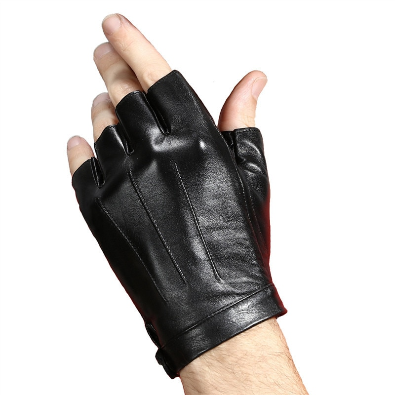[해외]Half Finger Gloves Men Summer Riding Driving Fitness Fingerless Genuine Leather Goatskin Black Sports Hand Gloves Handschoenen/Half Finger Gloves