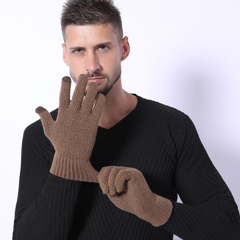 전체 손가락 장갑 남자 겨울 솔리드 자카드 플러스 벨벳 짙어지면서 뜨개질 따뜻한 차가운 보호 남자 장갑 캐주얼 유지